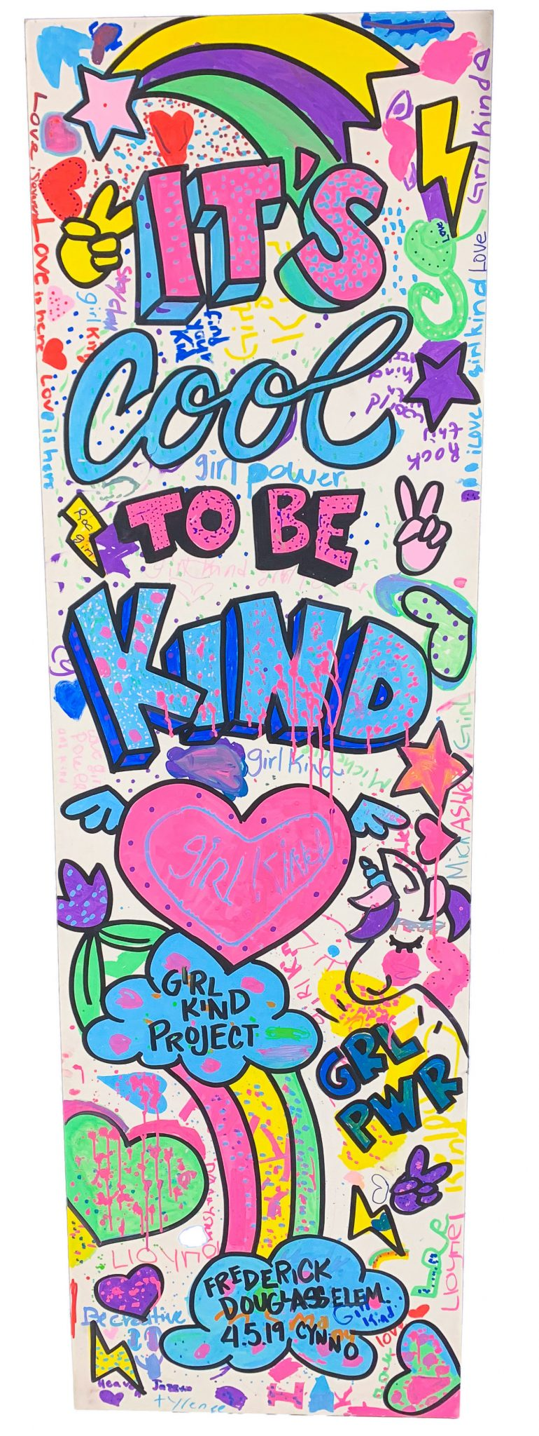 GirlKind Project participants created the door to kindness with the help of Cinthia Santos